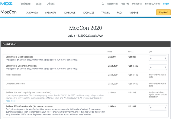 MozCon Ticket Types - Event Registration Guide