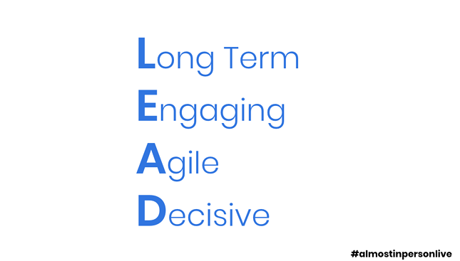 How to LEAD the Way Through COVID-19 - Lead Framework components of long term, engaging, agile, and decisive