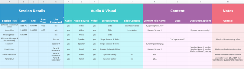 Run of Show Template - Prepping Virtual Event Speakers