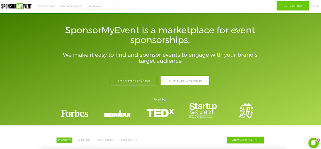 how to find sponsors SponsorMyEvent homepage
