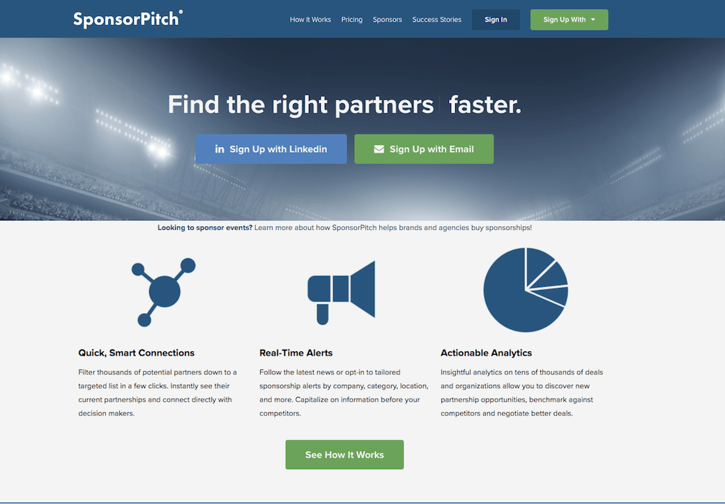 how to find sponsors SponsorPitch homepage
